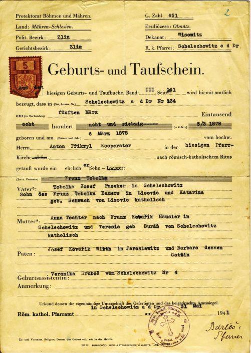 Geburtsschein Franz Tobolka