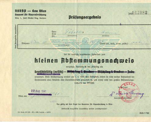 Ahnenforschung Kleiner Abstammungsnachweis von Anna Helene Fryc Vorderseite