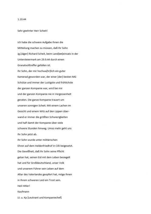 Transkription Brief an Josef Scheit
